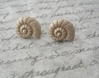 gold glitter shell earrings // studs, post earrings, glittery seashells