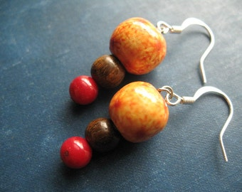 Red Coral, and Wood Earrings--Tribal Collection
