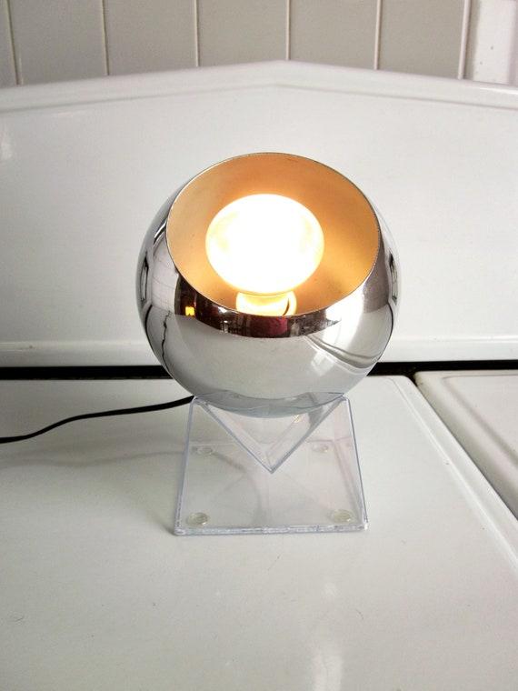 Chrome Eyeball Orb Lamp on Acrylic Base