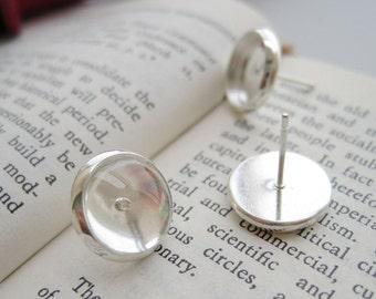 100 Blank Post Earring- Brass Silver Plated 8mm/ 10mm/ 12mm/ 14mm/ 16mm Round Bezel Setting Ear Studs W/ Rubber Ear Nuts Wholesale- Z5374