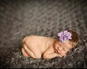 Skinny elastic purple flower headband for newborn baby or little girl, great photo prop