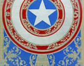 Stenciled Print of Captain America's Shield