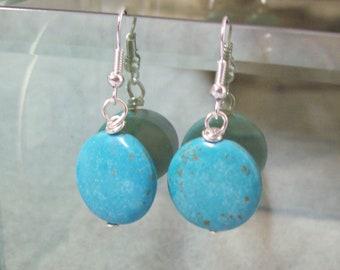 Dangle Earrings, Turquoise Bead Earrings, Bargin Earrings, Eco Friendly Earrings, Gift for Her