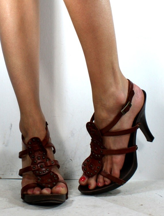 Vintage italy high heels shoes stud genuine leather strappy pumps sandals womens brown tan 7.5 M B