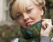 Eco Friendly - Crochet Neckwarmer -moss green -scarf- buttoned- cowl- warm - DecoEcoShop