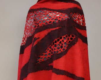 Felted shawl red black fire silk wool Felt light lace luxury all season open work scarf, Regina Doseth handmade in Lithuania EU