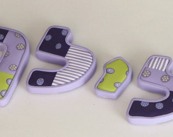 Personalized Hebrew letters, millefiori polymer clay