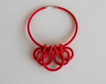 Collar Textile Necklace Red
