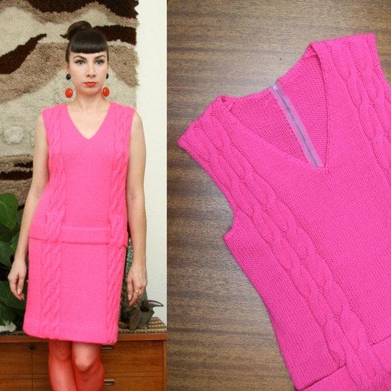 Vintage 60s Cable Knit Drop Waist Hot Pink Mini Dress