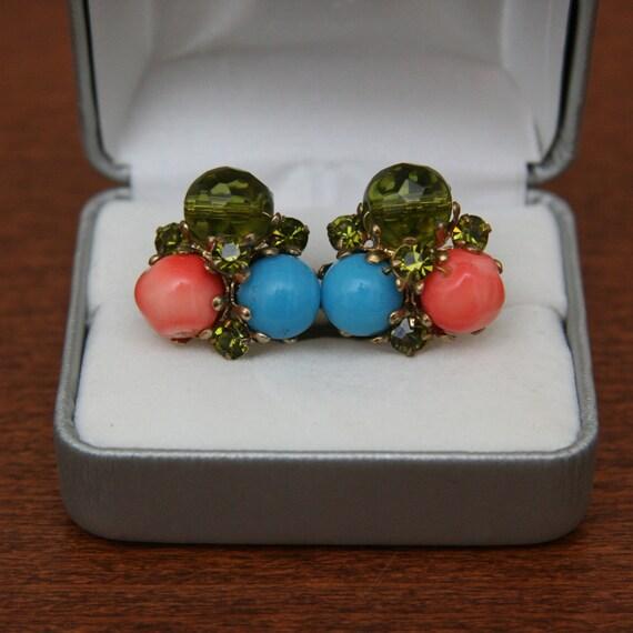 Vintage 60s Three Toned Rhinestone Earrings