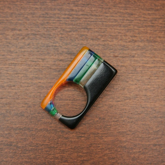 Vintage 60s Striped Lucite Ring