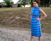 Vintage 1960s Mad Men Raw SILK CHECKERED Secretary Wiggle DRESS