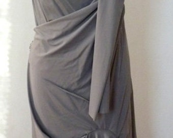 Drape Silver Gray Spandex Fabric Dress,one piece dress,faux wrap shawl look,custom order,by Cheryl Johnston,many colors