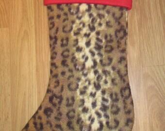 Custom Handmade Cheetah Print Holiday Christmas Stocking w/ White Cuff New