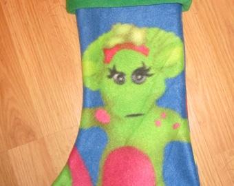 Custom Handmade Barney Baby Bop Print Holiday Christmas Stocking w/ Green Cuff New