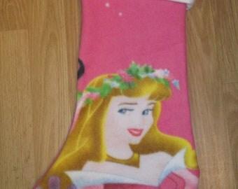Custom Handmade Disney Princess Sleeping Beauty Print Holiday Christmas Stocking w/ White Cuff New