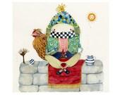 Print Humpty Dumpty Egg and Fred Chicken illustration Nursery rhyme  8x11 print