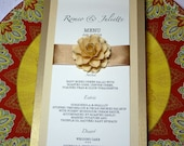 Wedding Menu Cards Embellished with The Rosetta Handmade Paper Flowers - Custom Colors - Pack of 10 - Made To Order