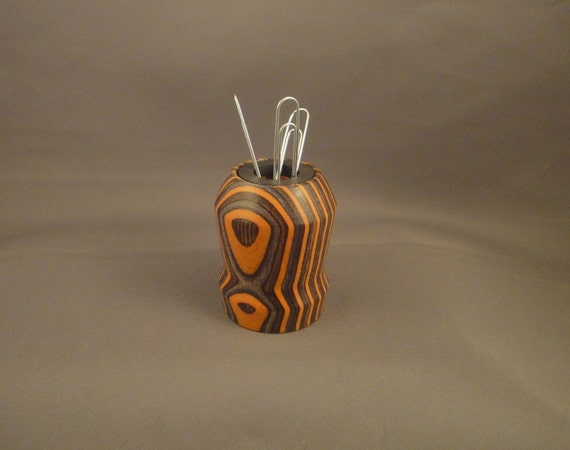 Magnetic Paper Clip Holder - Laminated Wood