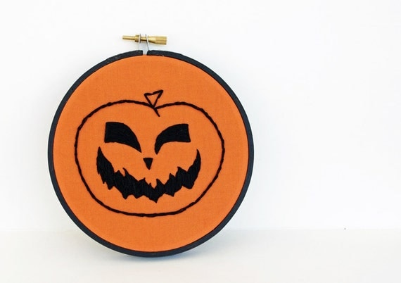 75% OFF Clearance SALE: Halloween Jack O' Lantern, Orange and Black Pumpkin Embroidered in 5 inch Embroidery Hoop for Autumn