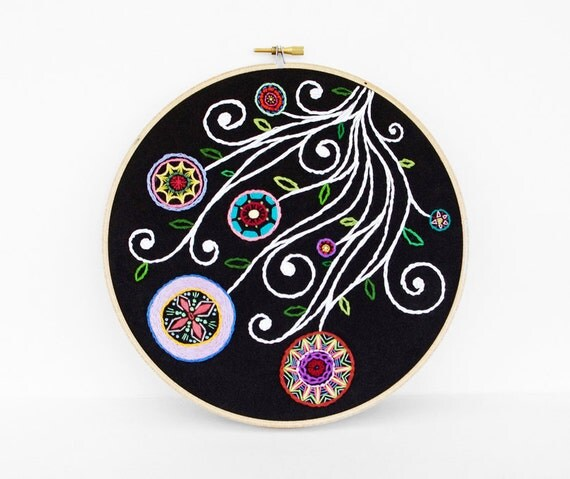 Embroidered Flower Garden in Rainbow Colors and Black, 8 inch Embroidery Hoop Wall Art by SometimesISwirl
