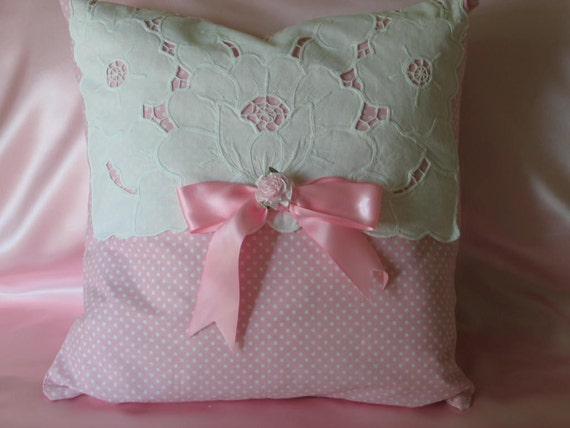 16 X 16 Throw Pillow, Pink And White Polka Dot, Battenburg Lace, Pink Satin Bow And Rose, Shabby Chic.