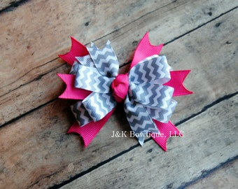 Grey and hot pink Layered Bow