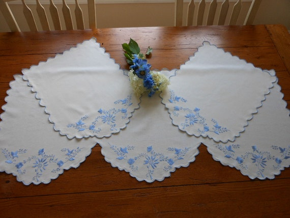Extra Large Vintage Hand Embroidered Arm Chair And Sofa Back Covers/Doilies