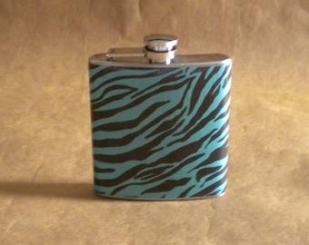 Girly Gift Teal and Black Zebra Print 6 ounce Stainless Steel Girl Gift Flask KR2D 6152