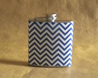 Royal Blue and White Chevron Print Gift Flask 6 ounces KR2D 6074