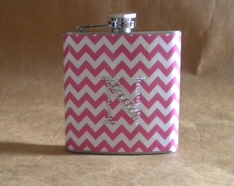 Personalized Gift Chevron Print in Pink and White 6 ounce Gift Flask with ANY Rhinestone Initial KR2D 6502