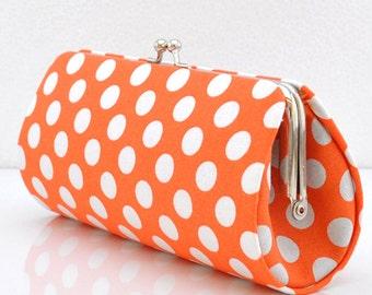 Ta Dot in Tangerine..Small Clutch Purse