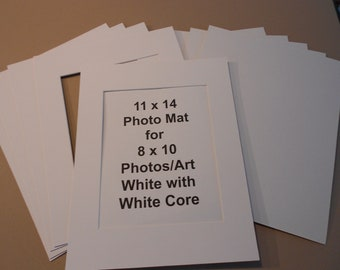 White Photo Mats 11x14 for 8x10 Photos/Art White Picture Frame Mats