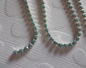2mm Turquoise Rhinestone Chain - Silver Plated Setting - Preciosa Czech Crystals