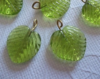 Olive Green Glass Leaf Charms Beads Leaves with Brass Loops 16mm - Qty 12