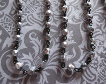 Bead Chain Opaque Shiny Silver 4mm Fire Polished Glass Beads on Jet Black Beaded Chain - Qty 18 inch strand