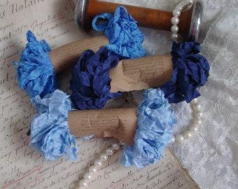 Shabby Wrinkled BEAUTIFUL BLUES ribbon bundle, 15 yards
