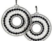 Crystal Silver/Black Hoop/Boho Earrings