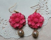 Bubblegum Pink Large Peony Flower Earrings with Wire Wrapped Pearl Drop Charm
