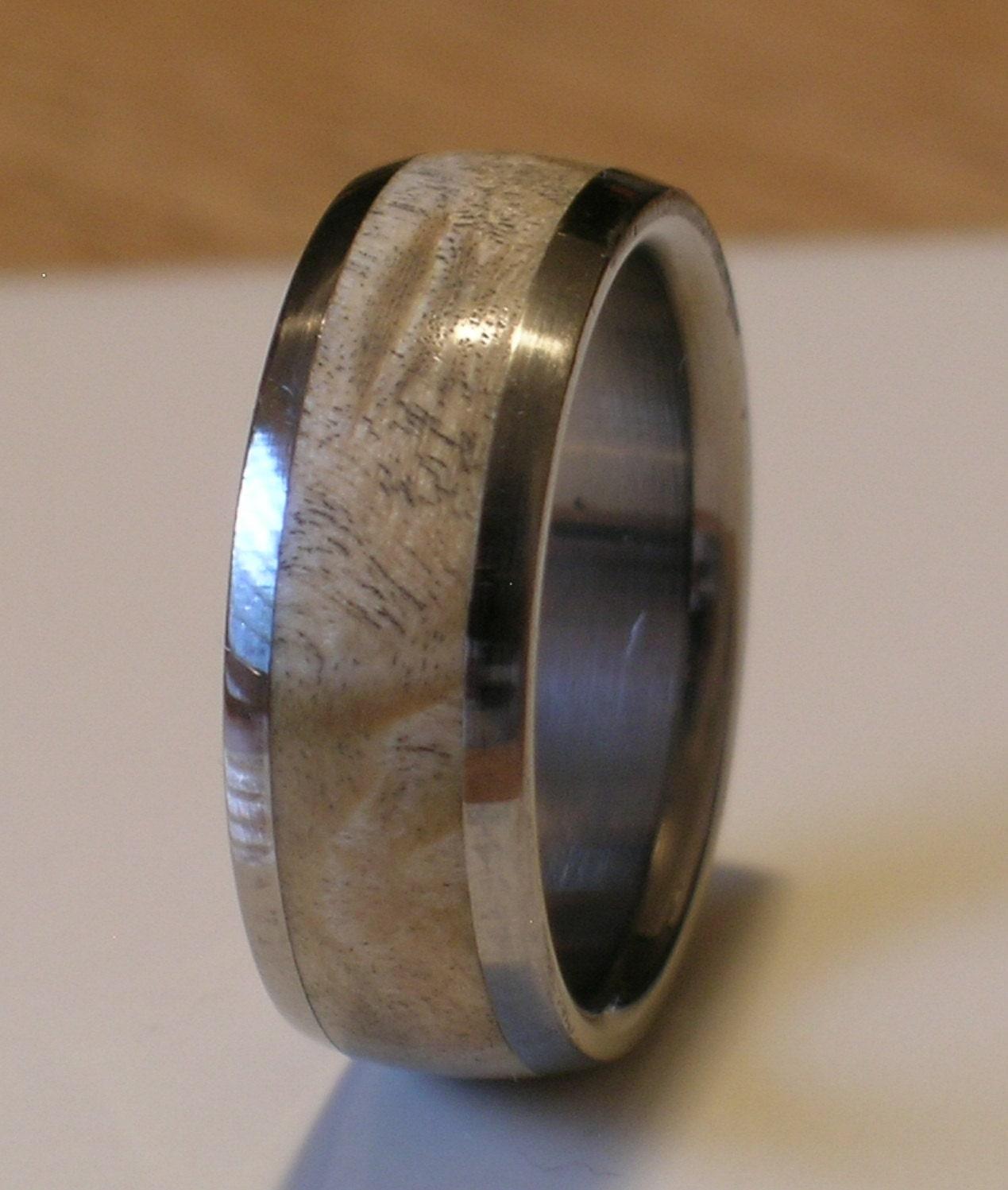 tungsten wedding band natural maple burl wood inlay by