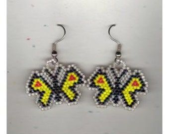 Shaped Beaded Earrings Pierced Ears Glass Seed Beads Brick Stitched Multiple Colors Insects Dragonfly Butterfly Nature Bugs Flying Moth Bug