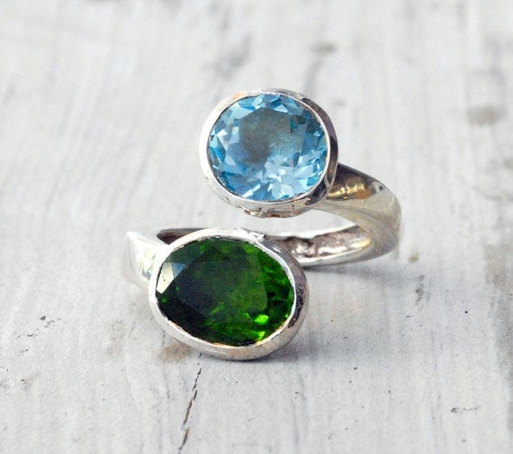 Sky Blue Topaz Grass Green Peridot Ring, Sterling Silver Twist Ring, Blue and Green Jewelry, Statement Ring, Spring 2013, Timeless Design