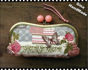 Rose and Butterfly Eyeglasses and sunglasses purse/Coin purse /// Wallet / Pouch coin purse / Kiss lock frame purse bag-GinaHandMade