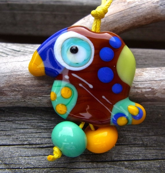Lucky Bird - free shipping - Handmade Lampwork Bead Set (3) by Anne Schelling, SRA