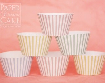 Cupcake Wrapper, Stripes, Printable Set For Birthday Or Any Day - Simply Print, Cut, Assemble, Enjoy