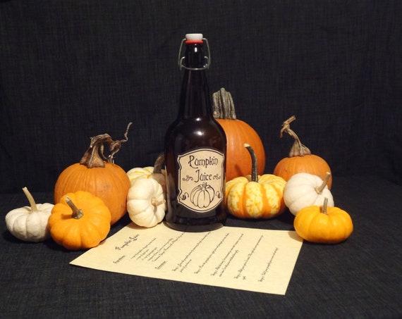 Pumpkin Juice Bottle with Recipe