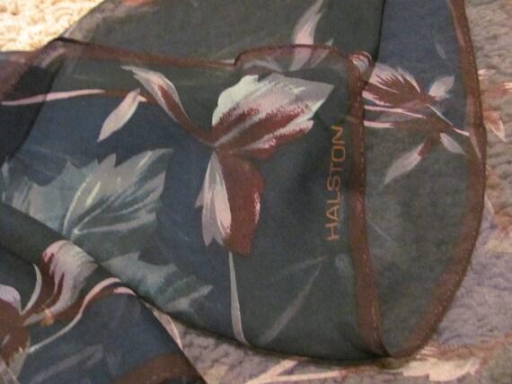 Beautiful Black Sheer Halston Silk Scarf  - 20 x 20 Square