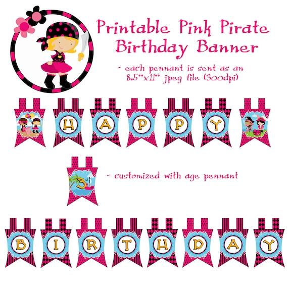 Printable DIY Girl Pink Pirate Theme Birthday By