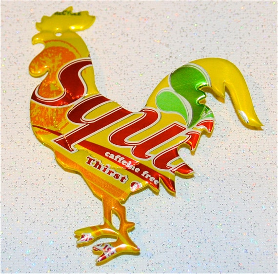 Recycled Soda Can Art- -Large Rooster  Magnet