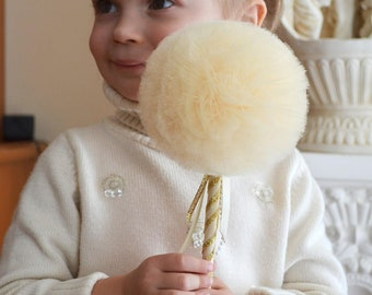 Ivory Tulle Puff  Magic Wand-Flower Girl Accessory